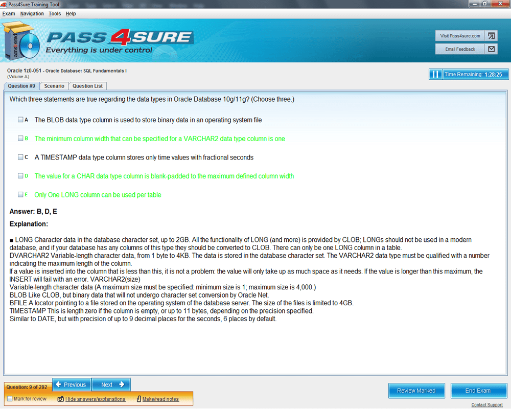 Latest 1z0 051 exam questions and answers pass oracle 1z0 051 1z0 051 exam product screenshots xflitez Choice Image