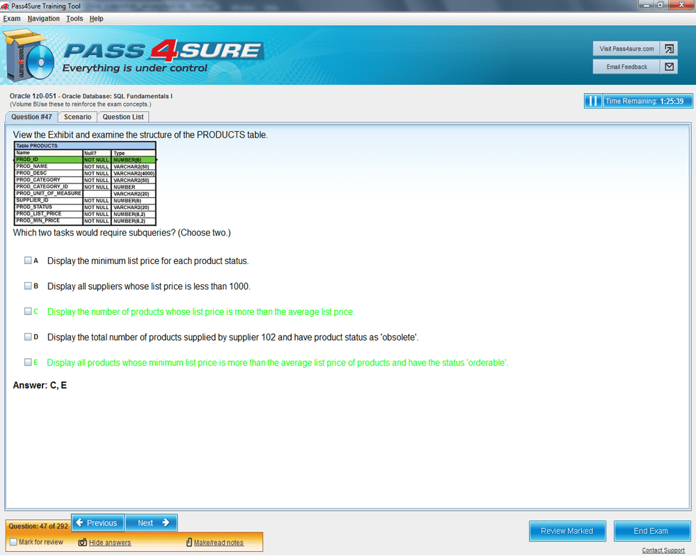 Latest 1z0 051 exam questions and answers pass oracle 1z0 051 1z0 051 sample 4 xflitez Choice Image